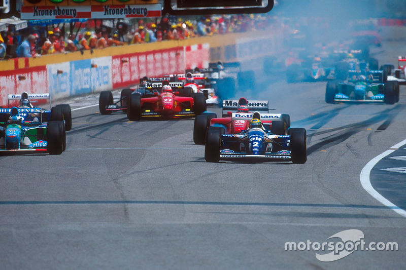 Largada: Ayrton Senna, Williams FW16, Michael Schumacher, Benetton B194