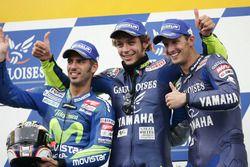 Podium : le vainqueur Valentino Rossi, le second Marco Melandri, le troisième Colin Edwards