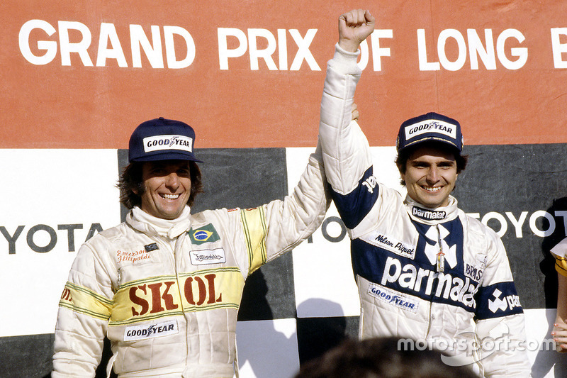 Race winner Nelson Piquet, Brabham BT49-Ford Cosworth; third place Emerson Fittipaldi, Fittipaldi F7-Ford Cosworth