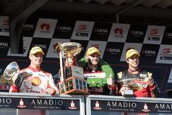Podium: race winner Shane van Gisbergen, Triple Eight Race Engineering Holden, second place Scott McLaughlin, Team Penske Ford, third place Chaz Mostert, Rod Nash Racing Ford