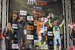 Podium Race 1: Tim Gajser, Tony Cairoli en Clement Desalle