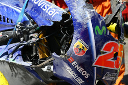 The crashed bike of Maverick Viñales, Yamaha Factory Racing