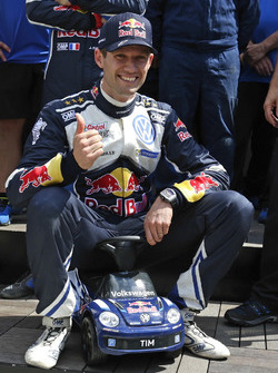Sébastien Ogier, Volkswagen Polo WRC, Volkswagen Motorsport with with the new Bobby car for his son