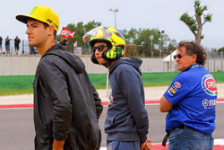 Valentino Rossi wearing an Arai helmet camouflaged as an AGV