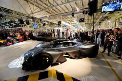 Daniel Ricciardo of Australia and Red Bull Racing inspects the AM-RB 001 at the Aston Martin and Red Bull Racing Project AMRB 001 Unveil