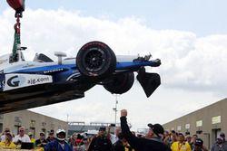 La voiture accidentée de Max Chilton, Chip Ganassi Racing Chevrolet