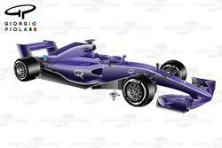 Regole aerodinamiche 2017, vista 3/4 anteriore