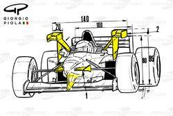 Vue avant de la Tyrrell 025 au GP de Monaco