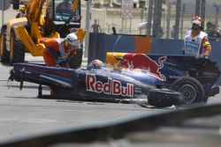 La monoplace accidentée de Mark Webber, Red Bull Racing