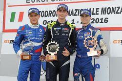 Rookie podium: first place Ferdinand Habsburg, Drivex School, second place Nikita Troitskiy, Drivex School, third place Colton Herta, Carlin Motorsport