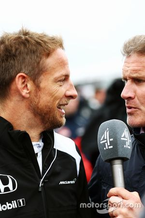 Jenson Button, McLaren con David Coulthard, Red Bull Racing y Scuderia Toro Advisor / Channel 4 F1