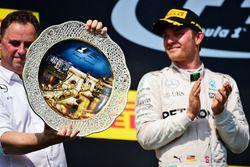 Ron Meadows, Mercedes GP Team Manager celebrates on the podium