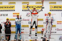 Podium: Race winner Matt Neal, Halfords Yuasa Racing; Mat Jackson, Motorbase Performance; Jason Plato, Subaru Team BMR; Sam Tordoff, Team JCT600 with GardX