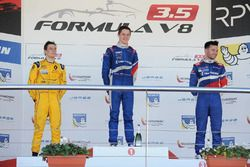 Podium: Race winner Egor Orudzhev, Arden Motorsport; second place Louis Deletraz, Fortec Motorsports; third place Matthieu Vaxiviere, SMP Racing