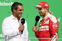 (L to R): Juan Pablo Montoya, on the podium with Sebastian Vettel, Ferrari