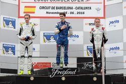 Rookie Podium: Race winner Colton Herta, Carlin Motorsport; second place Ferdinand Habsburg, Drivex School; third place Vasily Romanov, Drivex School