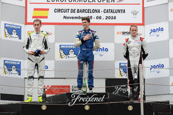 Rookie Podium: Race winner Colton Herta, Carlin Motorsport; second place Ferdinand Habsburg, Drivex School; third place Vasily Romanov, Drivex School