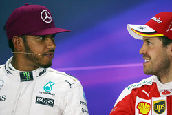 (L to R): Lewis Hamilton, Mercedes AMG F1 and Sebastian Vettel, Ferrari in the FIA Press Conference