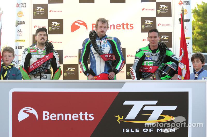 Podium: second place Martin Jessop, Kawasaki, race winner Ivan Lintin, Kawasaki, third place James Hillier, Kawasaki