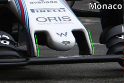 Détails du nez de la Williams FW38, à Monaco