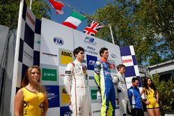 Podium: second place Lance Stroll, Prema Powerteam Dallara F312 – Mercedes-Benz; Winner Alessio Lorandi, Carlin Dallara F312 – Volkswagen; third place George Russell, HitechGP Dallara F312 – Mercedes-Benz