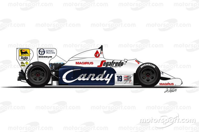 Toleman TG184 driven by Ayrton Senna