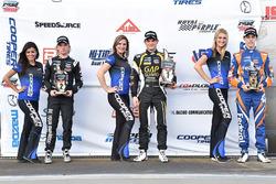 Podium: race winner Pato O'Ward, Team Pelfrey, second place Garett Grist, Juncos Racing, third place Nicolas Dapero, Juncos Racing