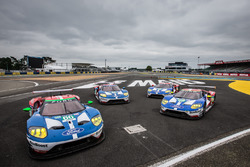 The four Ford Chip Ganassi Racing Ford GT pose