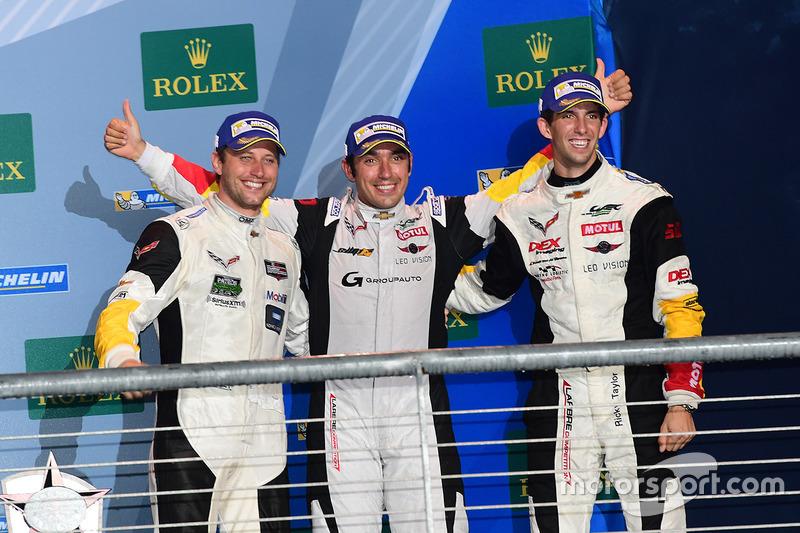 LM GTE Am podium: derde plaats Ricky Taylor, Lars Viljoen, Pierre Ragues, Larbre Competition