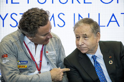 Alejandro Agag, CEO, Formula E, talks to Jean Todt, FIA President