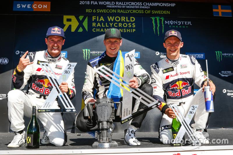 Winner Johan Kristoffersson, Volkswagen Team Sweden, second place Andreas Bakkerud, EKS RX Audi S1, third place Mattias Ekström, EKS RX Audi S1