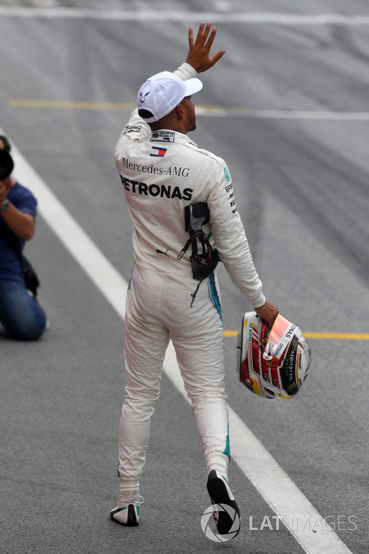 Second place Lewis Hamilton, Mercedes-AMG F1 celebrates in parc ferme