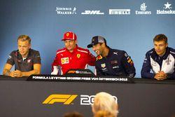 Kevin Magnussen, Haas F1, Kimi Raikkonen, Ferrari, Daniel Ricciardo, Red Bull Racing and Sergey Sirotkin, Williams in the Press Conference