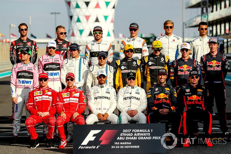 Foto de los pilotos que acabaron la temporada 2017 de F1