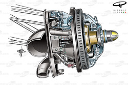 Toro Rosso STR7 front brake assembly (note new caliper position at back of disc)