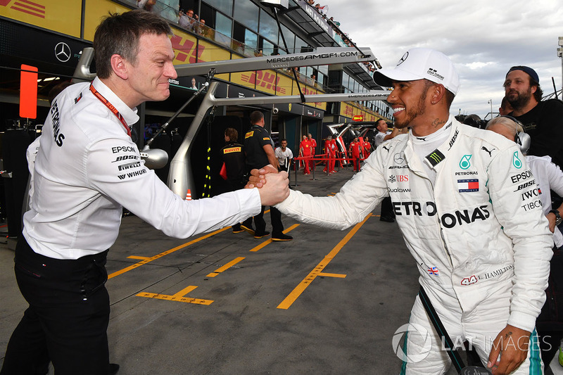 Pole sitter Lewis Hamilton, Mercedes-AMG F1 celebrates in parc ferme with James Allison, Mercedes AM