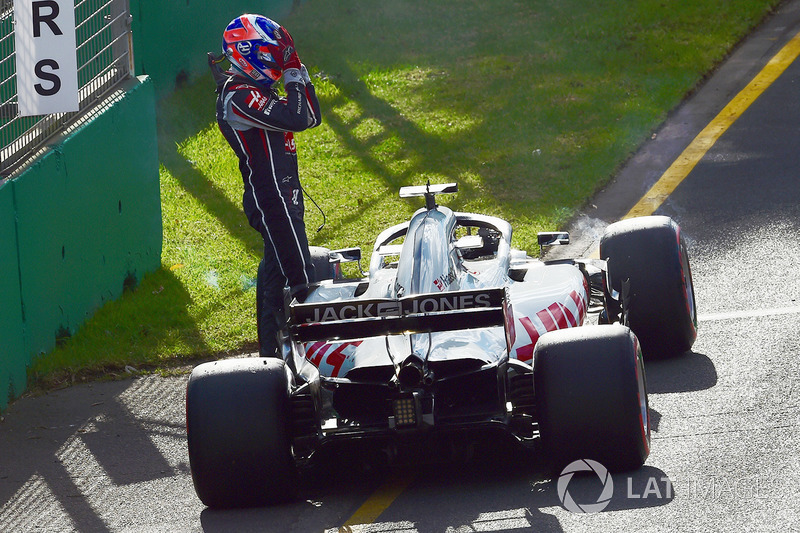 Romain Grosjean, Haas F1 Team VF-18 después del abandono