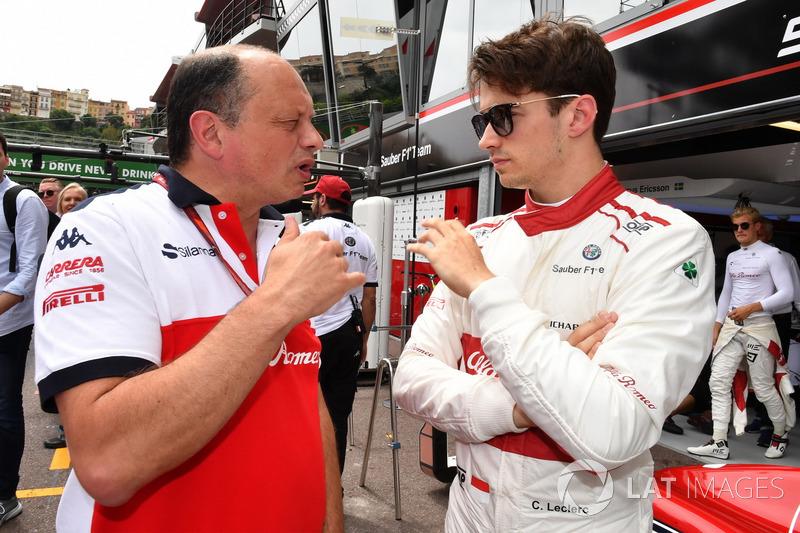 Frederic Vasseur, Team Principal, Sauber e Charles Leclerc, Sauber