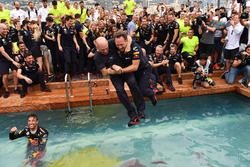 Christian Horner, Red Bull Racing Team Principal and Adrian Newey, Red Bull Racing jump into the Red Bull Racing Energy Station swimming pool