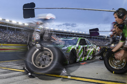 Daniel Suarez, Joe Gibbs Racing, Toyota Camry Interstate Batteries, makes a pit stop