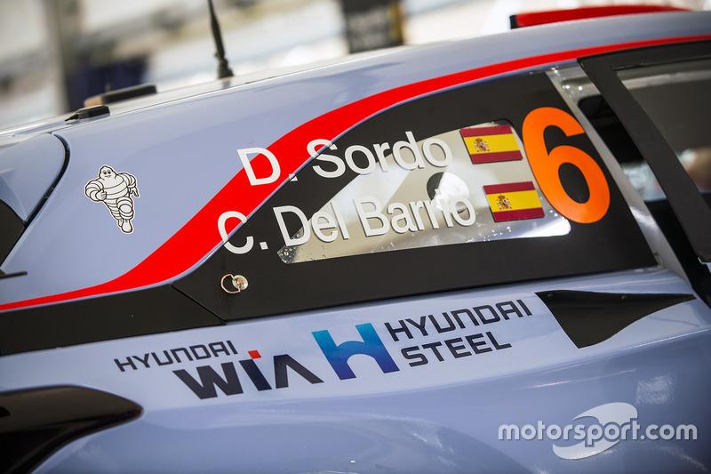 El coche de Dani Sordo, Carlos Del Barrio, Hyundai Motorsport Hyundai i20 Coupe WRC detalle