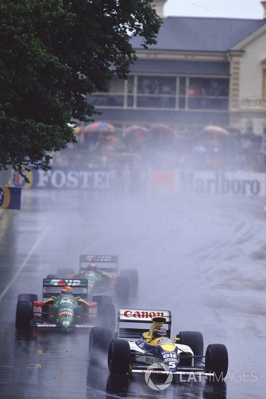 Тьерри Бутсен, Williams FW13 Renault, Эмануэле Пирро, Benetton B189 Ford, и Алессандро Наннини, Benetton B189 Ford