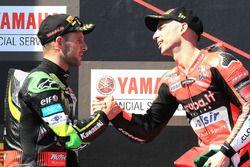 Podium: race winner Marco Melandri, Aruba.it Racing-Ducati SBK Team, second place Jonathan Rea, Kawa