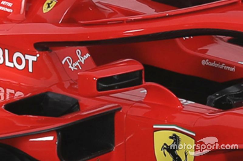 Ferrari SF71H detalle del espejo de ala