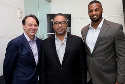 Brent Dewar, NASCAR president Max Siegel, CEO of Rev Racing and Jusan Hamilton, NASCAR Racing Operations at the NASCAR Drive for Diversity Combine at NASCAR headquarters