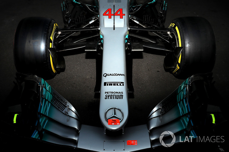 The nose and front wing detail of Lewis Hamilton, Mercedes-AMG F1 W08