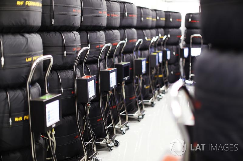 Pile di pneumatici Pirelli nelle termocoperte