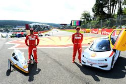 Fernando Alonso, Ferrari and Kimi Raikkonen, Ferrari at a Shell eco car event