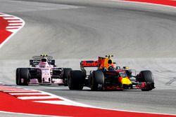 Max Verstappen, Red Bull Racing RB13 and Esteban Ocon, Sahara Force India VJM10