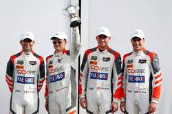 Victory lane, third place P: #54 CORE autosport ORECA LMP2: Jon Bennett, Colin Braun, Romain Dumas,